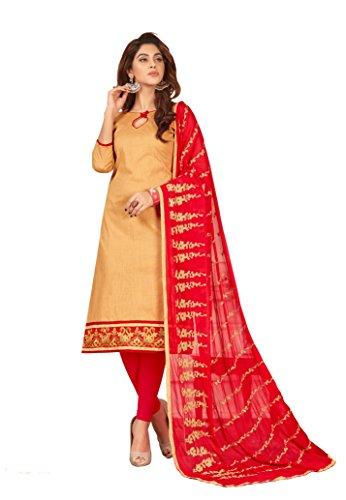 Priyavadhu Women's Slub Cotton straight Unstitched Salwar kameez Dress material (BLFNC05_Beige_Free Size)