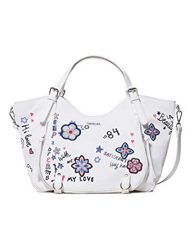 Desigual Damen Bag Shibuya Rotterdam Women Schultertasche, Weiß (Blanco), 15x30x31 cm
