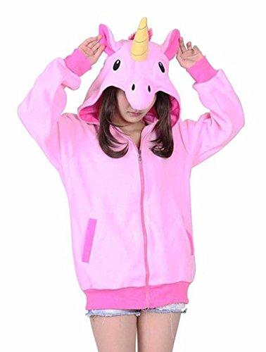DELEY Unisex Animal Cosplay Langarm Zip up Hoodie Sweatshirt Trainingsanzug Kapuzen Kapuzenpullover Rosa Einhorn Größe M