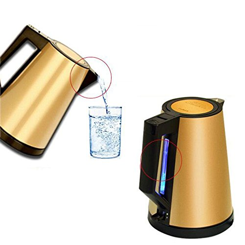 BCQ Electric Kettle Stainless Steel Spring Cover Small Volume Mute Travel to Carry 1.2L Gold + Black 15.8 * 22Cm Electric Kettles