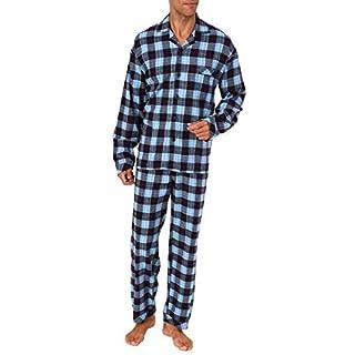 Normann Copenhagen Herren Flanell Pyjama Schlafanzug zum durchknöpfen - auch in Übergrössen 281 101 95 651, Farbe:Marine, Größe2:70