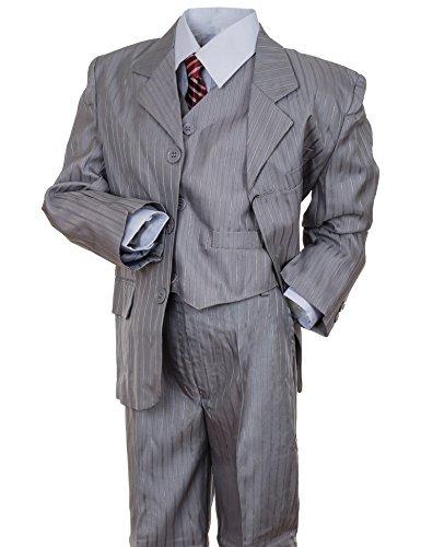 Festlicher 5tlg. Jungen Anzug Festanzug mit Jacke, Hose, Hemd, Weste und Krawatte in vielen Farben M312gr Grau Gr. 10 / 134 / 140