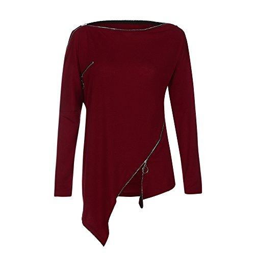 TWIFER Slash Neck Asymmetrisches Damen T-Shirt mit Zipper Schulterfrei Tops Bluse (Übergröße Schwein Kostüm)