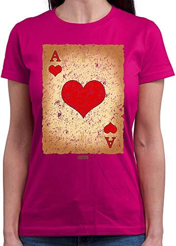 HARIZ  Damen T-Shirt Rundhals Spielkarte Herz Ass Karneval Kostüm Inkl. Geschenk Karte Pink ()