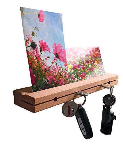 AVEELO Schlüsselbrett Holz Buche massiv Lackiert 30x6x3cm Schlüsselhalter in Schwebeoptik Schlüsselboard Schlüsselleiste (Buche mit Nut Lackiert)