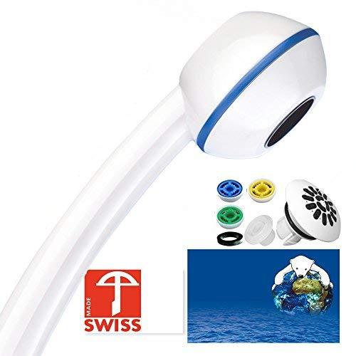 Top-ventil Regler (Duschkopf SwissClima MARINA TOP! Kräftig für mehr Druck, zB Durchlauferhitzer und weniger Wasser: verkalkungsfreie Handbrause, Regenstrahl-Aufsatz, 3 Reduzierer, SwissMade)