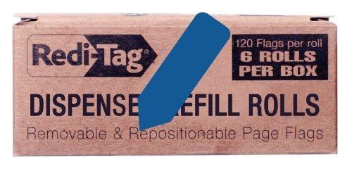 redi-tag-solid-arrow-dispenser-flags-6-roll-refill-120-flags-per-roll-1-7-8-x-9-16-inches-dark-blue-
