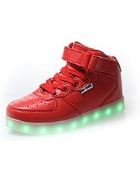 DoGeek LED Schuhe Kinder Damen 7 Farbe USB Aufladen Leuchtend Sportschuhe LED Kinder Farbwechsel Sneaker Turnschuhe für Herren Damen (41, Silber)
