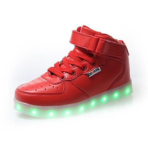 DoGeek LED Schuhe Kinder Damen 7 Farbe USB Aufladen Leuchtend Sportschuhe LED Kinder Farbwechsel Sneaker Turnschuhe für Herren Damen -
