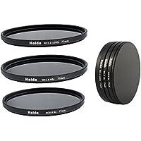 Ensemble de filtres gris de filtres ND8, ND64, ND1000 de 77 mm y compris un conteneur de filtres avec un dispositif de protection des filtres et des bouchons d'objectif Pro de 77mm