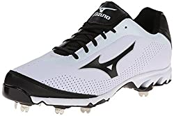 Mizuno Mens Vapor Elite 7 Low Baseball Cleat,White/Black,11.5 M US