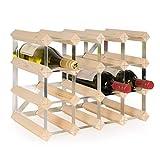 Weinregal/Flaschenregal System TREND, für 16 Fl, Holz Kiefer natur, komplett montiert, stapelbar/erweiterbar - H 32,4 x B 42 x T 22,8 cm