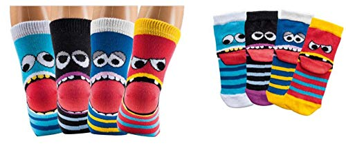 Kinder Socken, handgekettelt, 6 Paar für Mädchen/Jungen, weiche Baumwolle, Motiv Freche Bande (Freche Bande, 35-38 = 9-10 Jahre)