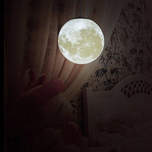 MQFORU Lámpara de techo colgante de luna de 20,32 cm, 25,4 cm, 30,48 cm, 35,56 cm, 45,72 cm, 3D, lámpara de luna con diseño de araña, moderno personalidad dormitorio/habitación infantil/balcón, 8in
