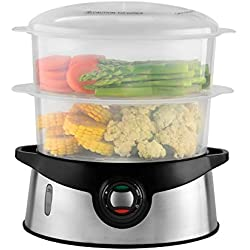 Venga! Cuiseur Vapeur 2-en-1 avec panier cuiseur de riz, Capacité de 9 Litres, Minuteur de 45 minutes, 800 W, Noir/Argenté, VG DG 3000