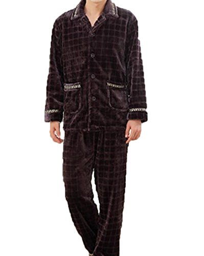 Winter Herren Gitter Langarm-Pyjama Verdicken Warm Flanell Hause Service,Brown-XXL