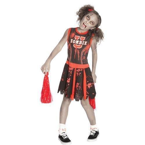 Deluxe Mädchen Kinder Halloween Party Zombie Untoter Cheerleader Maskenkostüm Kinder Outfit - Kinder: XL (Deluxe Cheerleader Kind Kostüme)