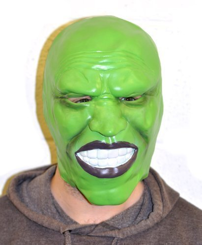 The Rubber Plantation TM 5060077800007 Jim Carrey-Stil Dunkle Grün Latex Maske Halloween Kostüm Zubehör Loki, Unisex, ONE ()