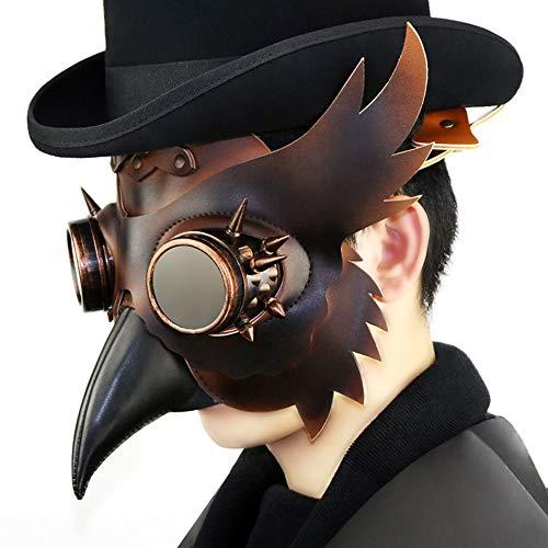Mittelalterliche Kostüm Doktor Pest - Steampunk Pest Doktor Vogel Schnabel Maske, mittelalterliche Beulenpest DR Halloween Kostüm Maskerade Masken, Ledermaske für Männer und Frauen Erwachsene