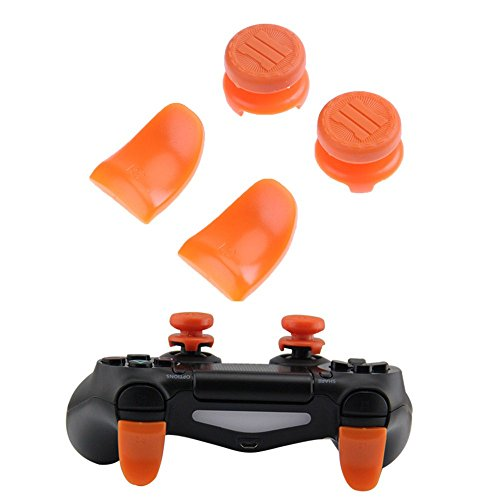 Beracah Thumb Stick Caps Grips L2 R2 Buttons Trigger Extender für PS4 Controller blau orange Orange -