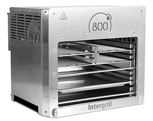 intergrill 800° XXL Hochleistungsgrill Oberhitzegrill Doppel-Brenner Farbe Grau Edelstahl inkl. 3X Grillroste Gastroschale Schutzschublade Griff Piezozündung (XXL)