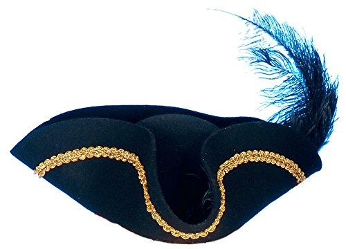 Piratenhut Hut in schwarz mit Feder | Einheitsgröße Erwachsene | Dreispitz für Piraten-Kostüme