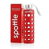 spottle Glasflasche/Trinkflasche Glas auslaufsicher 550ml - Trinkflasche Glas mit Silikonhülle für unterwegs, Smoothies, Wasser, Fitness, Yoga & Sport - BPA frei