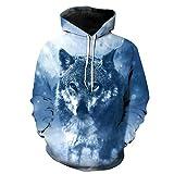 WEIYIGE Sweatshirt 3D War Wolf Print Kapuzenpullover mit Rollkragen Herren Cap Herren Sweater - L