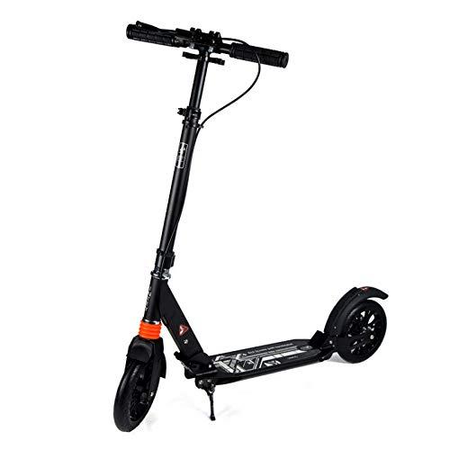 F.RUI Scooter YA43 Faltbar Leichtgewicht Höhenverstellbarer Roller Kinderroller Tretroller für Jungen und Mädchen für Kinder und Erwachsene Schwarz, weiß