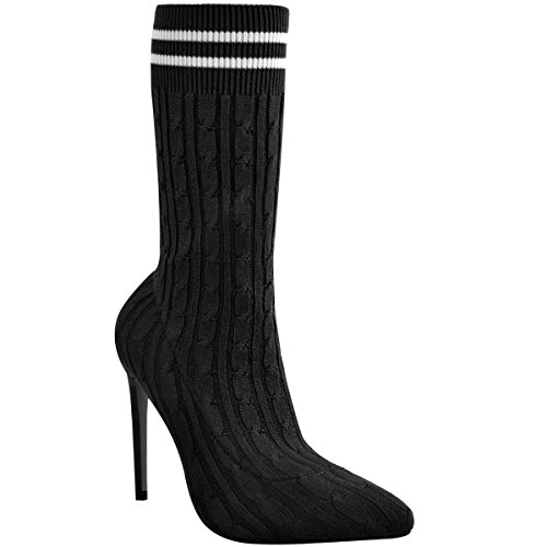 2385ecbed311c Bottes Femme Bottines Chemise À Cheveux Talon Stiletto Chaussures À Bout  Pointu Haut Pointure Black Knit