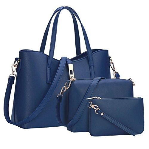 YipGrace Mujeres Del Hombro Tres Piezas Bolso Del Bolso Monedero Sólido Conjunto bolsa Composite Foncé Azul