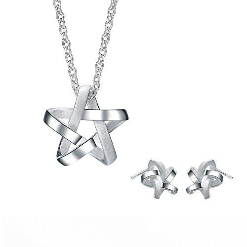argento-sterling-silverage-weave-stella-collana-e-orecchini-gioielli-set