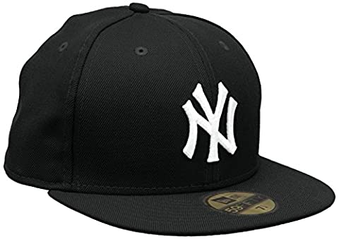 New Era - MLB Basic NY Yankees 59Fifty Fitted - Chapeau Homme, Noir et Blanche (black & Blanc), 6 7/8inch - 55cm