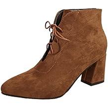 Zapatos por ESAILQ Botas Casual de Primavera para Mujer Botas de Tobillo Vintage con Cordones Aire Libre por ESAILQ