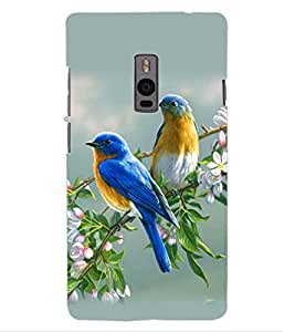 ColourCraft Love Birds Design Back Case Cover for ONEPLUS TWO