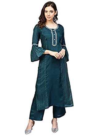 Varanga Women's Art Silk Straight Salwar Suit Set