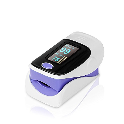 41 ZK7LIh0L - Senweit Portable Oximeter Led Digital Display Finger Pulse Blood Oxygen SpO2 PR Heart Rate Monitor Purple with Lanyard and Manual Reviews Professional Medical Supplies