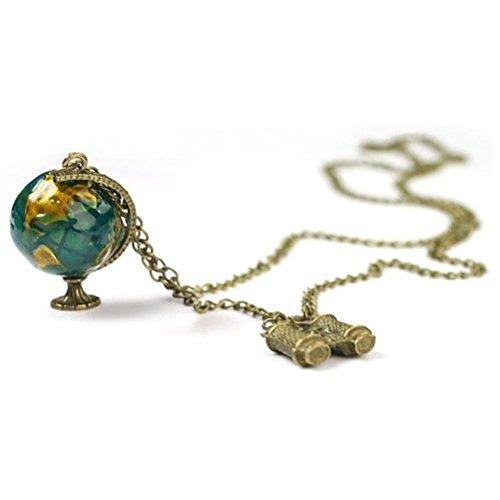 BESTOYARD Vintage Terrestrial Globe Teleskop lange Körper Pullover Kette Antik Bronze Halsketten Anhänger für Frauen Schmuck (Pullover Antike)