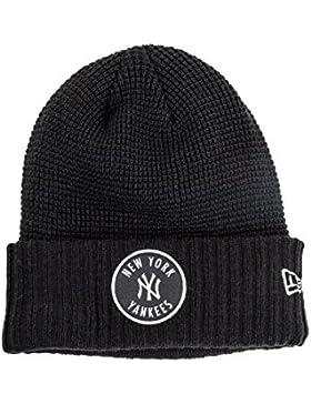 New Era New York Yankees MLB Emblem Waffle Beanie Cuff Knit Cappello Nero / Bianca Dimensione Taglia Unica