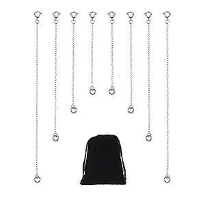 8 Stück Edelstahl Halskette Extender Kette Armband Verlängerung Kette für Schmuckherstellung, 4 Größen, Silberner Farbe