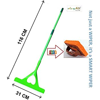 AMIDE BY AD 3 in 1 Heart Floor Wiper with long handle for floor, Bathroom, Kitchen cleaning, Large, Green