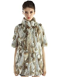 Bellerfur Chaquetas de piel de conejo verdadero natural de las mujeres abrigos de invierno con la mitad de la manga