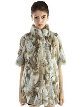 Bellerfur Abrigo de piel del conejo del invierno de las mujeres de la chaqueta de piel de conejo genuino con diseño...