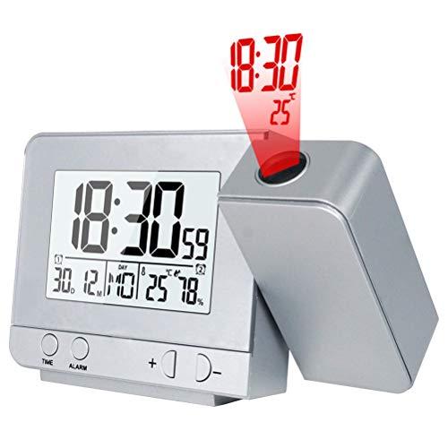 Atomic Projection Clock Mit Temperatur - Digital Timer Projekt - Wand Decke Projektion Snooze Clock Indoor Temperatur Hintergrundbeleuchtung Wecker Mit Adapter Laden - Wecker Licht Blinkt