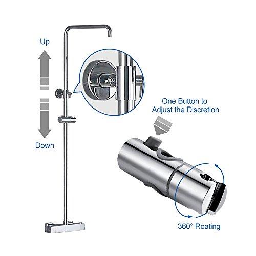 Homelody – Duscharmatur mit Thermostatfunktion und LED-Regendusche, Chrom - 5