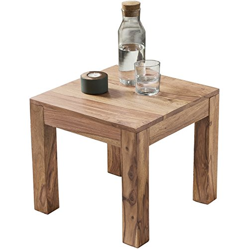 Wohnling Table basse en bois massif d'Acacia marron 45 cm de large table de salon design style maison de campagne Table d'appoint naturel Produit de salon meubles unique moderne Massivholzmöbel carré en bois véritable