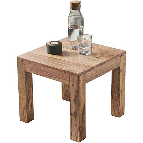 FineBuy Couchtisch Massiv-Holz Akazie 45 cm breit Wohnzimmer-Tisch Design braun Landhaus-Stil Beistelltisch Natur-Produkt Wohnzimmermöbel Unikat modern Massivholzmöbel Echtholz quadratisch