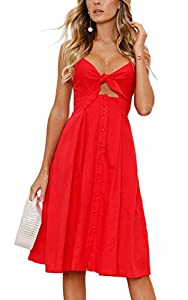 ECOWISH Damen V Ausschnitt A-Linie Kleid Träger Rückenfreies Kleider Sommerkleider Strandkleider Knielang 1603Beige S