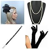thematys Gangster-Braut Flapper Set + Stirnband + Halskette + Handschuhe + Zigarettenhalter - 20er Jahre Kostüm-Set für Damen - perfekt für Fasching & Karneval (1)