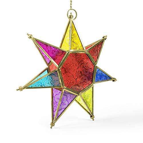 Indian Arts - Farol Colgante de Estrella Estilo marroquí, 25 x 25 x 6cm